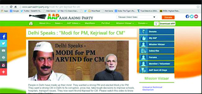 AAP opens mouth, inserts foot with 'Modi for PM, Arvind for CM' slogan