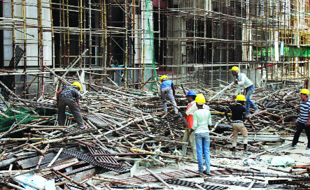 4 dead as Noida  highrise scaffold  caves in after hit