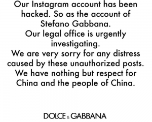 Dolce & Gabbana accused of insulting China; blames hackers