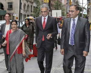 Swaraj arrives in New York for UN General Assembly session