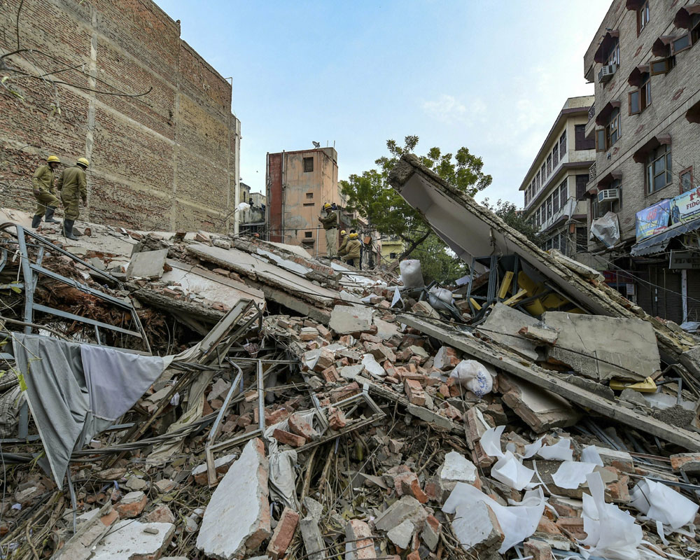 Four-storey building collapses in Karol Bagh
