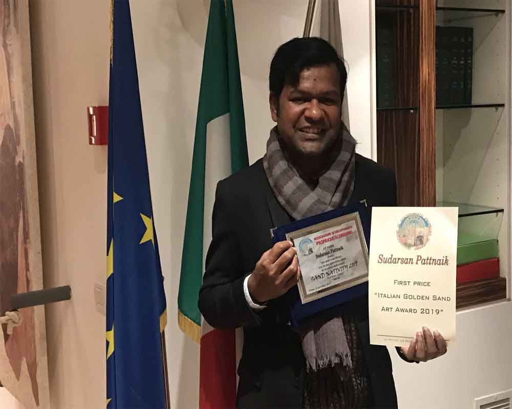 Pattnaik becomes first Indian to win prestigious Italian award for sand art