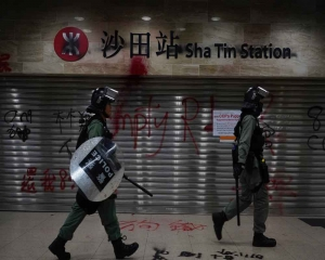 Hong Kong police say they were attacked by explosive device