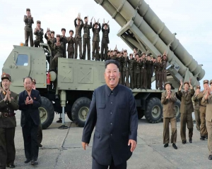 N Korea tests new 'super-large' multiple rocket launcher