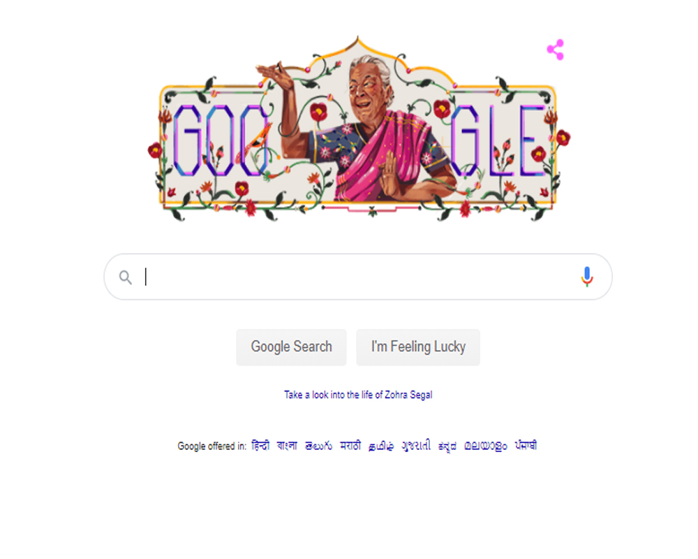Google doodle pays tribute to Zohra Sehgal
