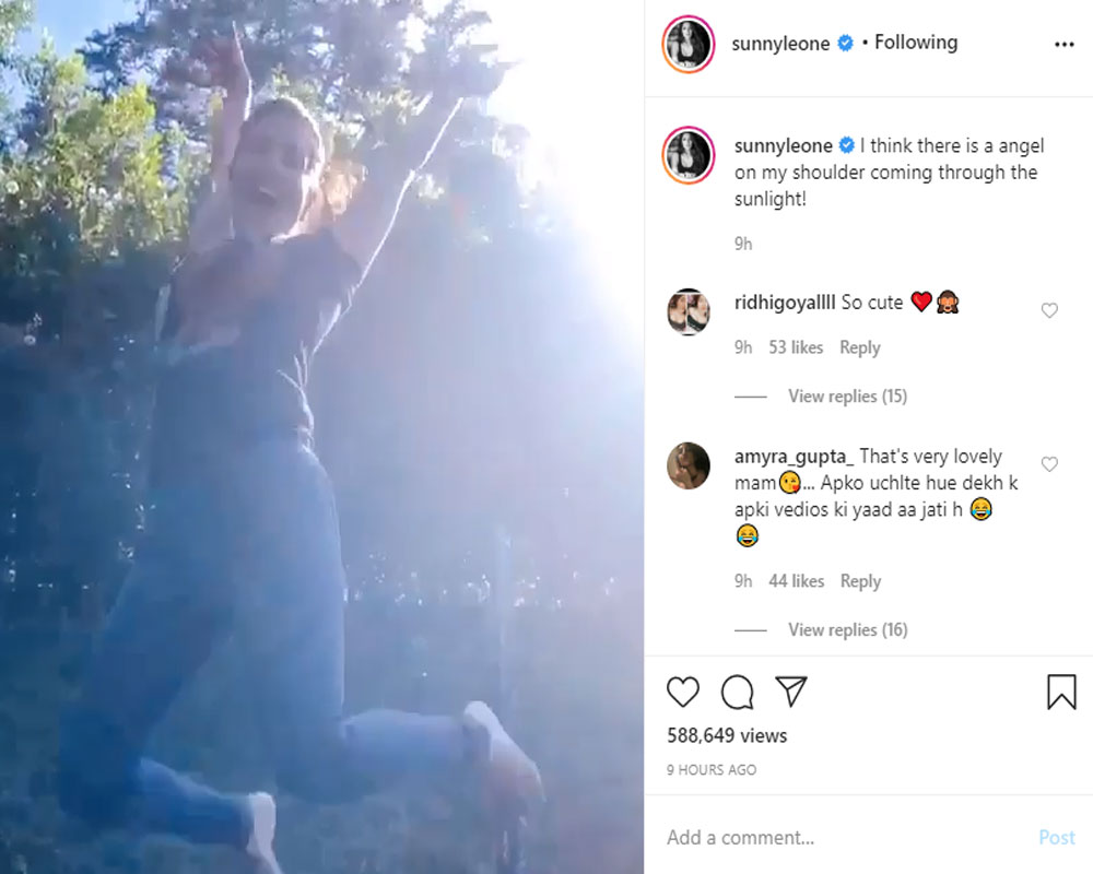 Sunny Leone happily jumps on a trampoline in new video