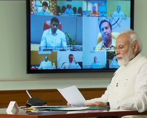 PM interacts with floor leaders of political parties on coronavirus