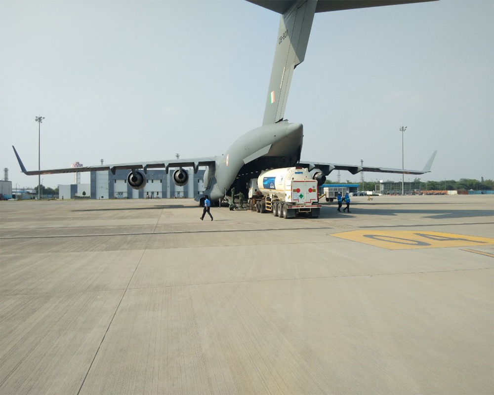 IAF airlifts 9 cryogenic oxygen containers from Dubai, Singapore
