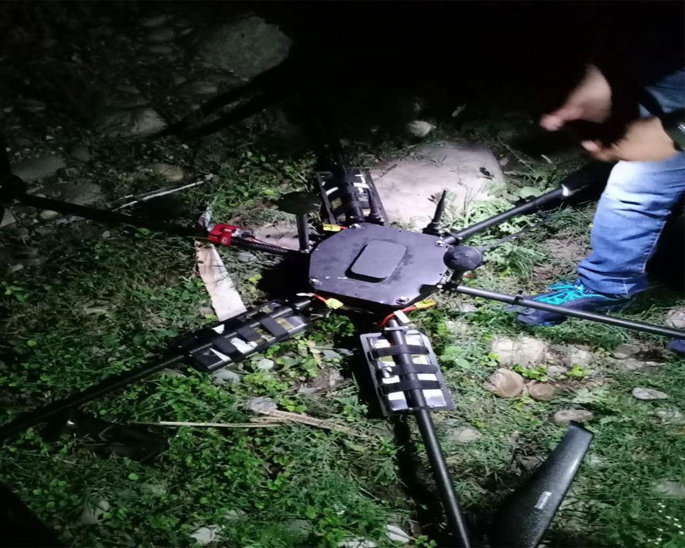 J&K police shoots down drone carrying IED material in border belt of Jammu