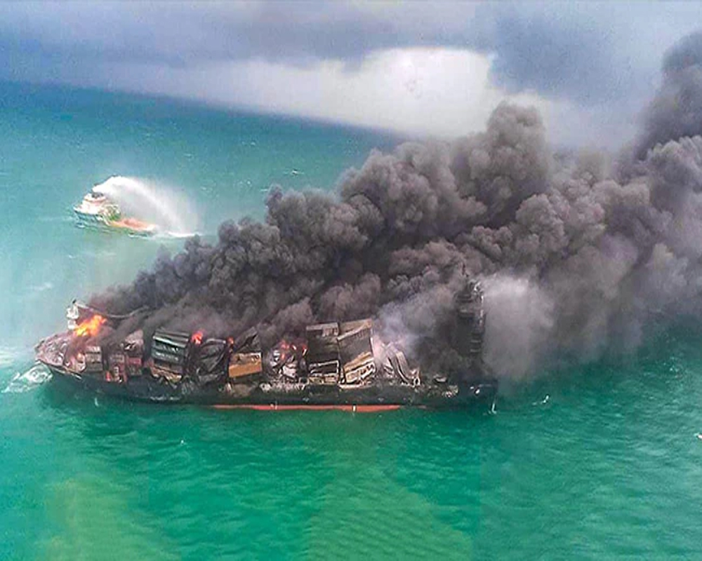 Sri Lankan authorities using all resources to stop oil spill from gutted cargo ship: Officials