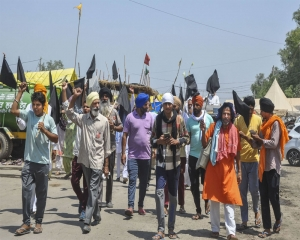 Protest flags, slogans and marches as farmers observe 'black day' to mark 6 months of stir