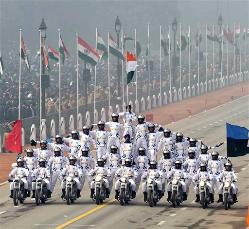 Army daredevils perform during the 67th Republic Day parade at Rajpath in New Delhi. PTI