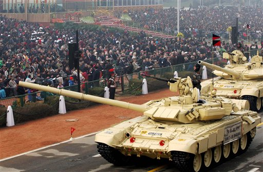 A display of Tank T-90 during the 67th Republic Day parade at Rajpath in New Delhi. PTI