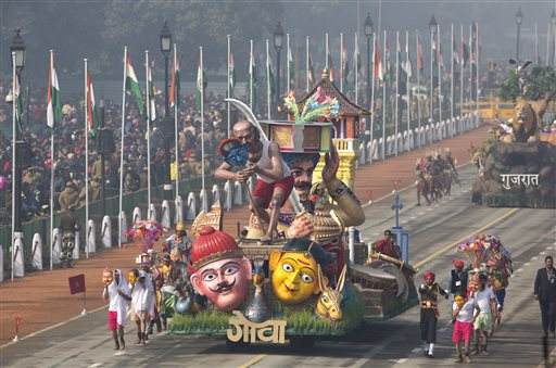 A tableau of Indian state of Goa drives past during the full dress rehearsal of theRepublic Day parade, in New Delhi India. AP