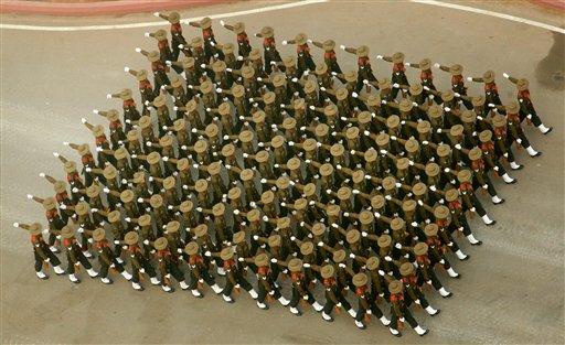 A marching contingent of Assam Regiment during the 67th Republic Day parade at Rajpath in New Delhi. PTI