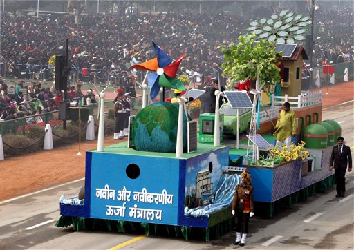 A tableau of Ministry of New & Renewal Energy during the 67th Republic Day parade at Rajpath in New Delhi. PTI