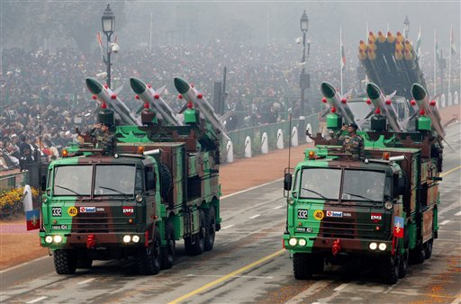 A display of AKASH missile system during the 67th Republic Day parade at Rajpath in New Delhi. PTI