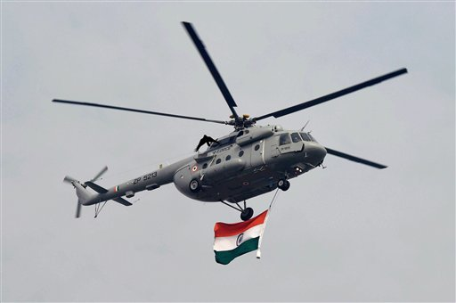 An IAF helicopter flying past during the 67th Republic Day parade at Rajpath in New Delhi. PTI