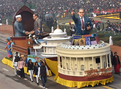 A tableau of Ministry of Social Justice & Empowerment during the 67th Republic Day parade at Rajpath in New Delhi. PTI