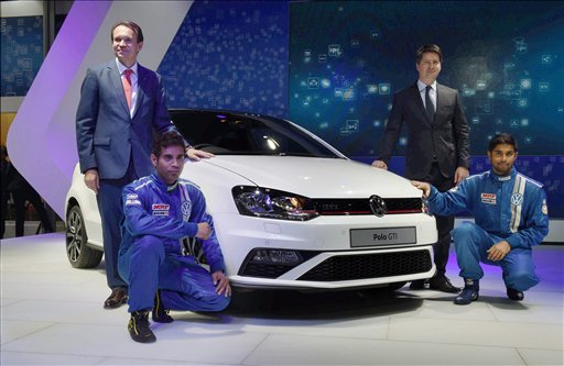 Volkswagen India Director Michael Mayer (L) unveils the new POLO GTI at Auto Expo 2016 in Greater Noida (PTI)