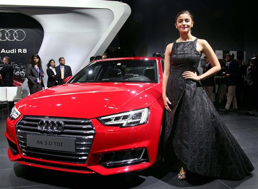 Actress Alia bhatt at the launch of Audi R8 at Auto Expo 2016 in Greater Noida. PTI