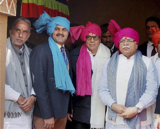 Haryana Chief Minister Manohar Lal Khattar with actor Dharmendra and others during the inauguration of 30th International Surajkund Crafts Mela in Faridabad. PTI