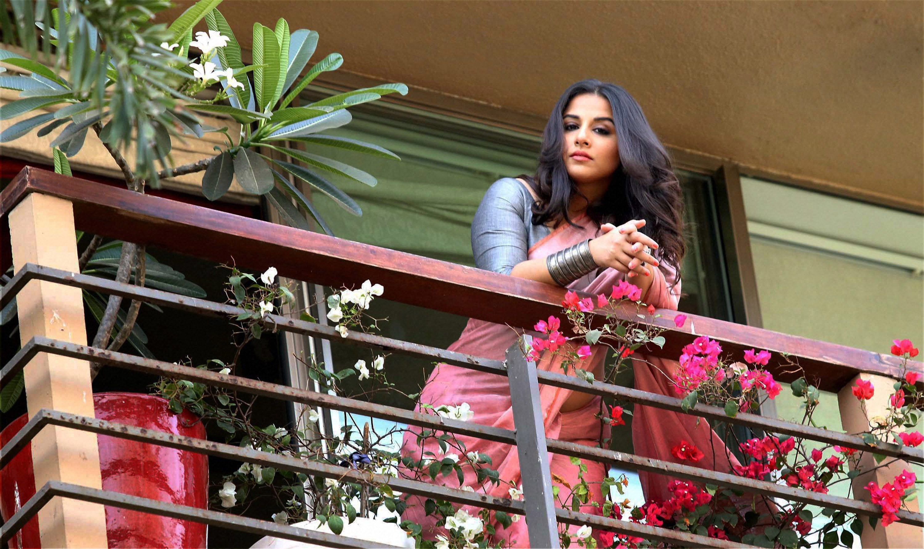 Bollywood actress Vidya Balan is spotted at the balcony of her residence in Mumbai- PTI
