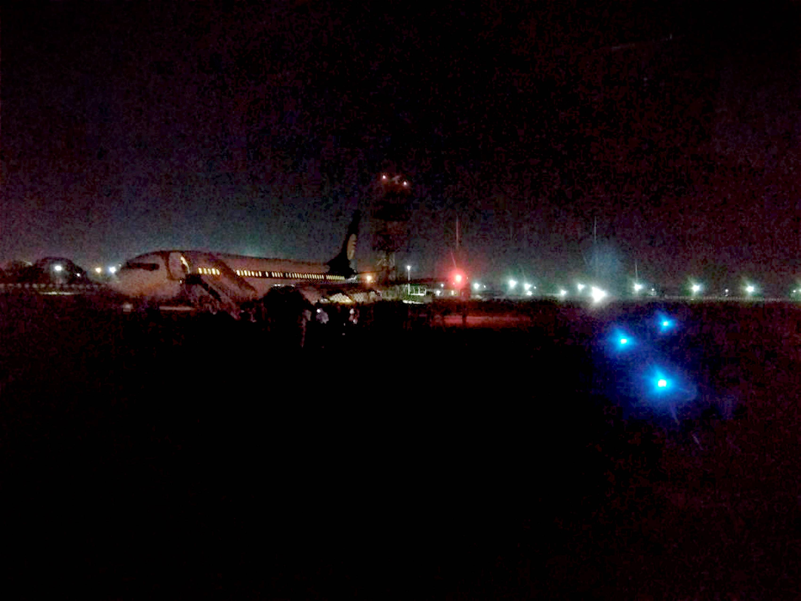 The Mumbai-Delhi Jet Airways flight after making an emergency landing at the Ahmedabad airport due to a security threat - PTI