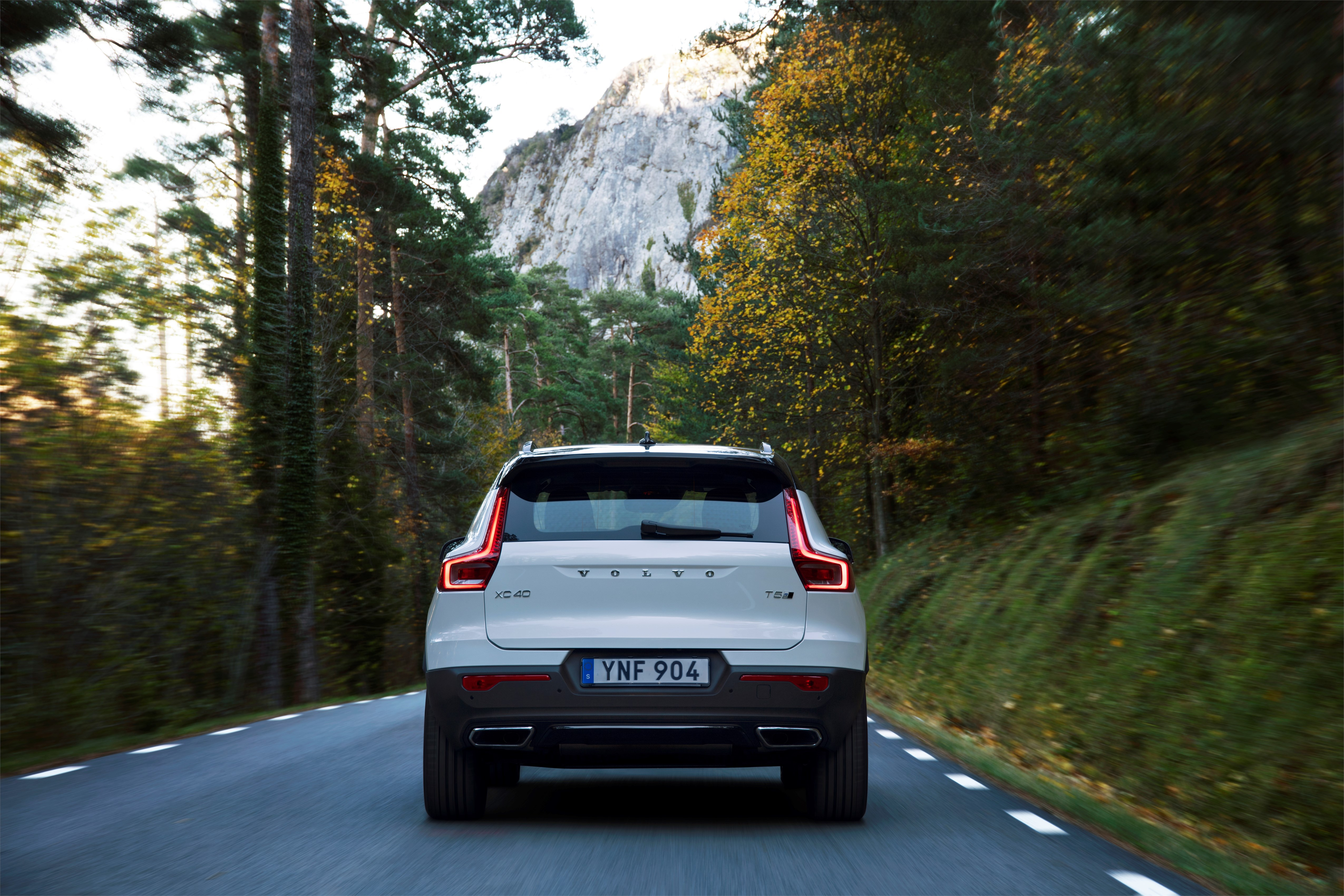 New Volvo XC40 R-Design in Crystal white with black roof - exterior, on location