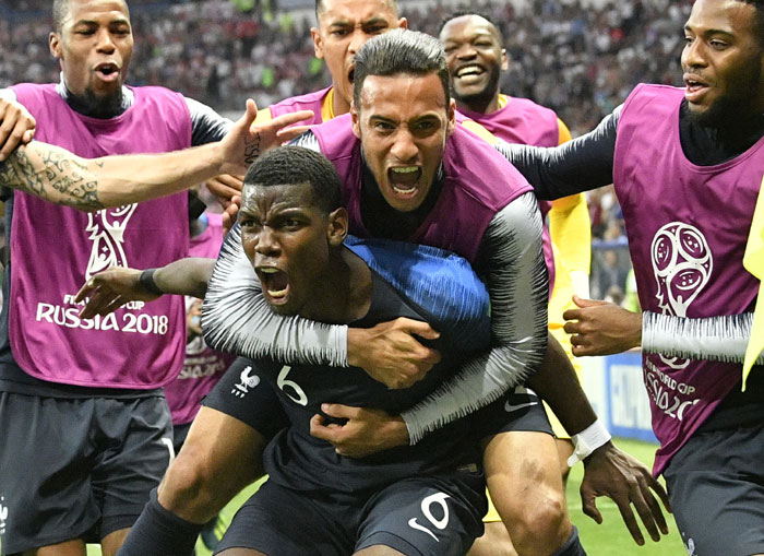 France's Paul Pogba celebrates after scoring his side's third goal during the final match between France and Croatia at the 2018 soccer World Cup in the Luzhniki Stadium in Moscow - AP