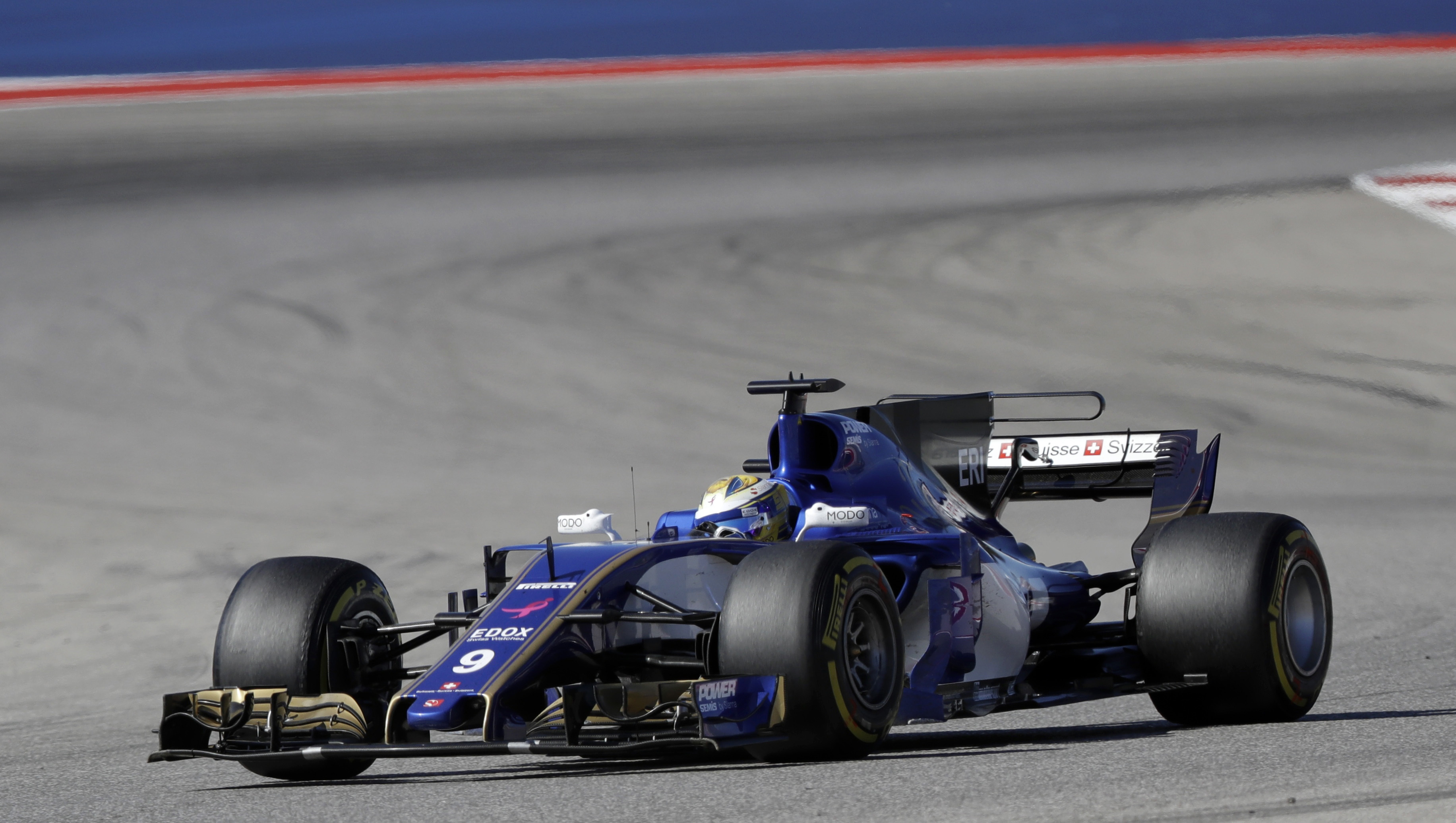 Sauber driver Marcus Ericsson, of Sweden, competes during the Formula One U.S. Grand Prix auto race at the Circuit of the Americas- AP