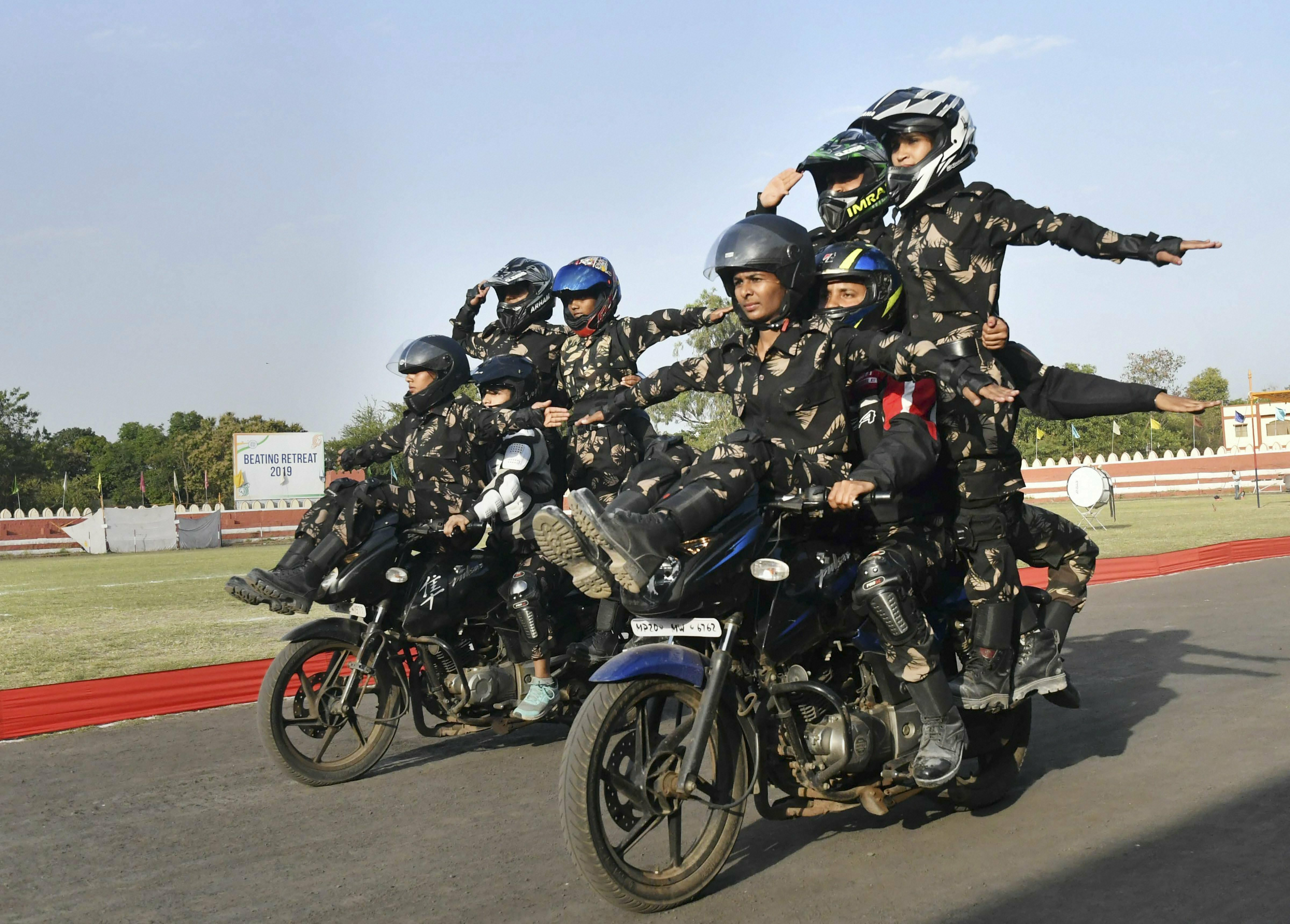Police personnel of 23 Battalion Special Armed Force display their skills during the full dress rehearsal ahead of Women's Day celebration, in Bhopal - PTI
