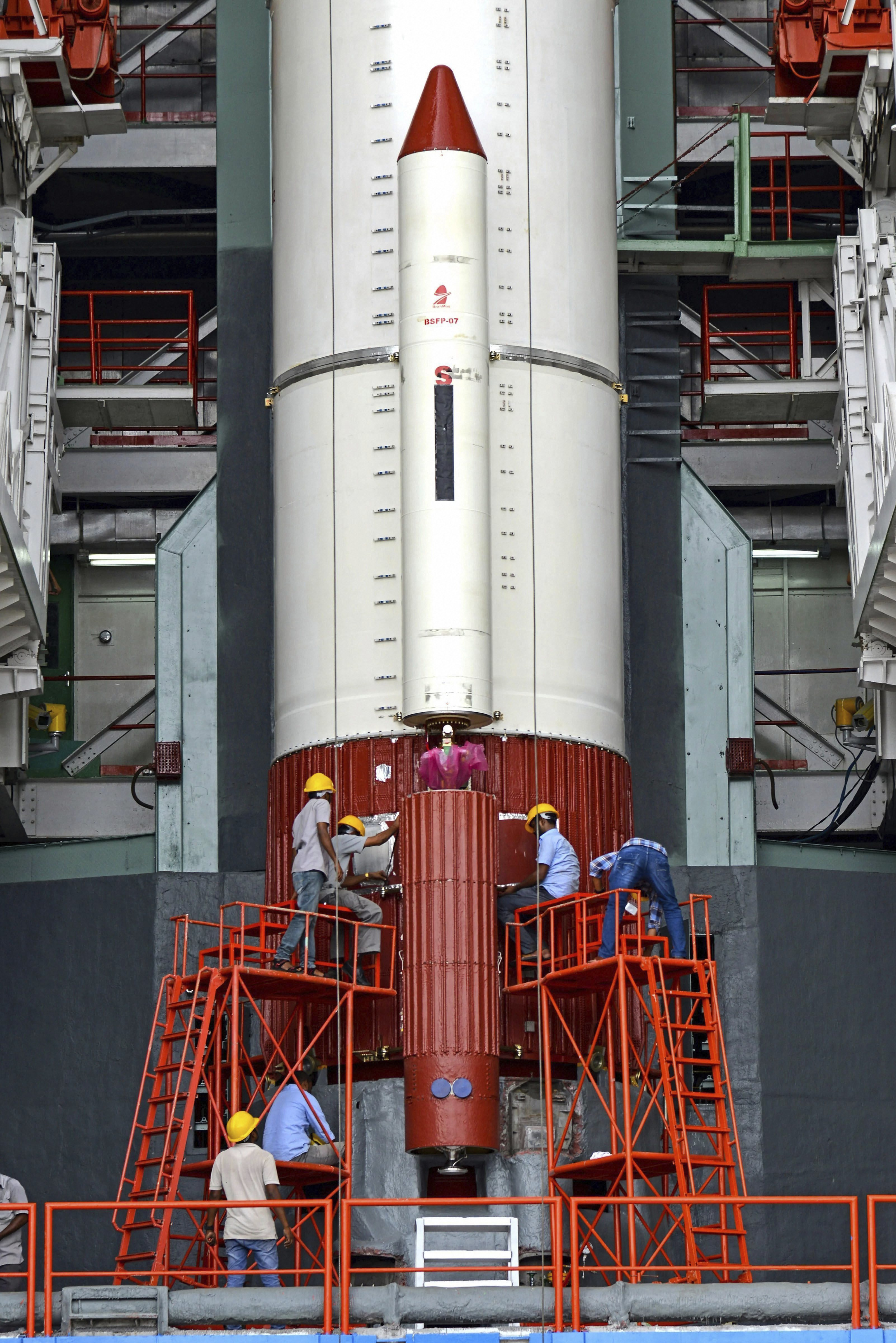 Work is in progress on the PSLV-C42 vehicle as preparations are underway for the first-ever commercial launch by ISRO, of two UK satellites Novasar and S1-4, from the spaceport of Sriharikota near Chennai - PTI