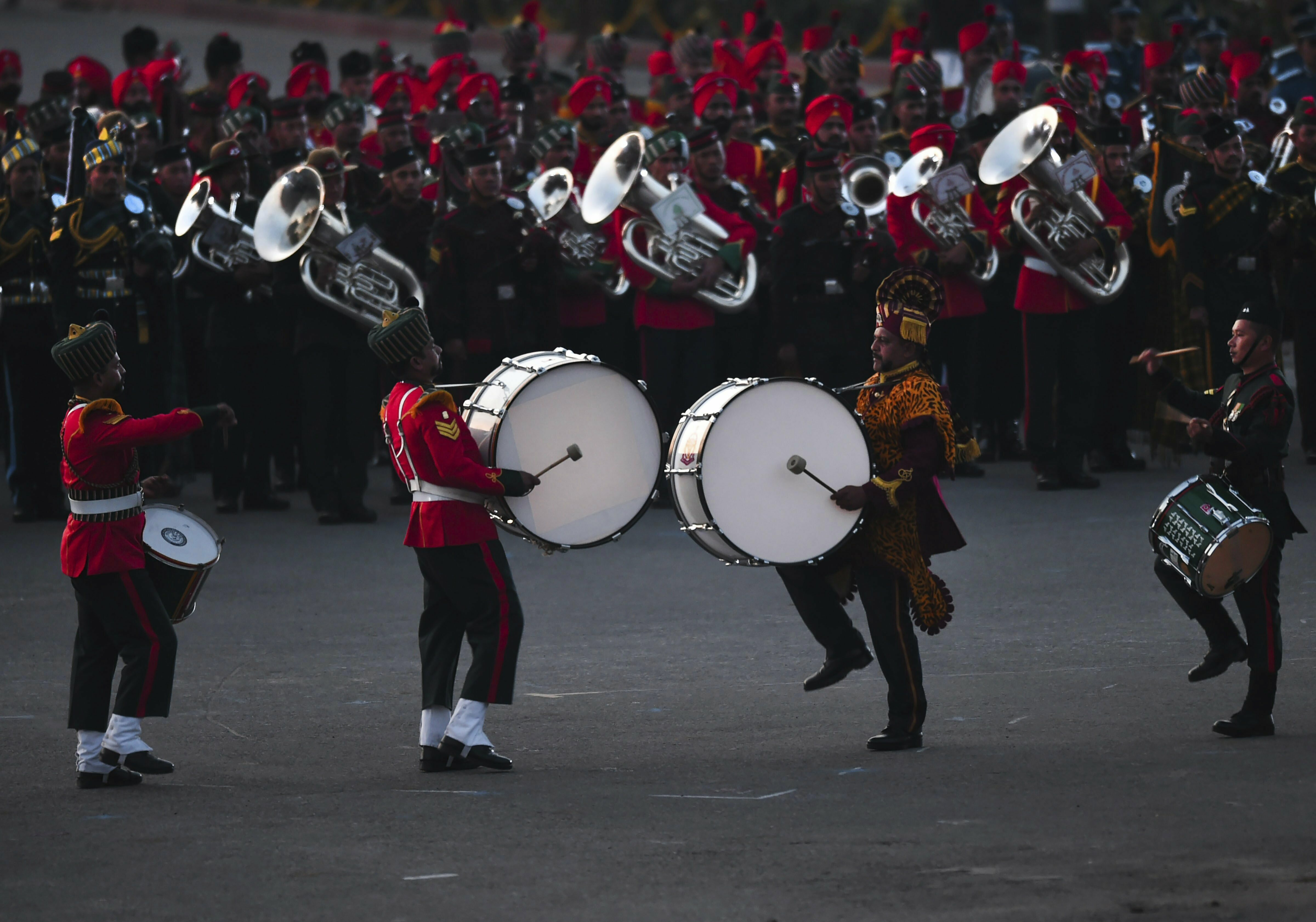 Tri-services bands perform during the Beating Retreat ceremony at Vijay Chowk in New Delhi - PTI