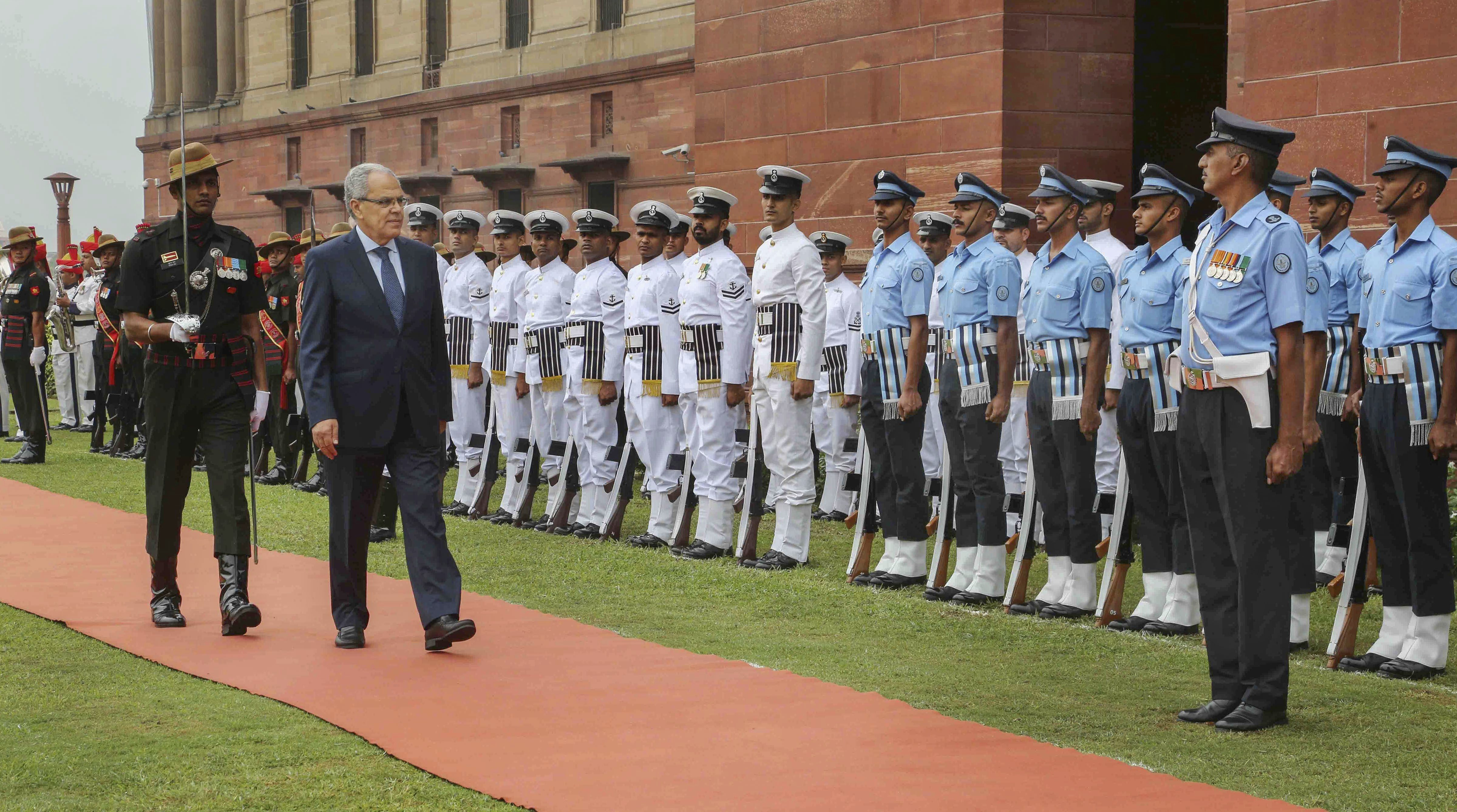 Morocco's Minister of Defence Abdellatif Loudiyi inspects a guard of honour, at South Block, New Delhi - PTI
