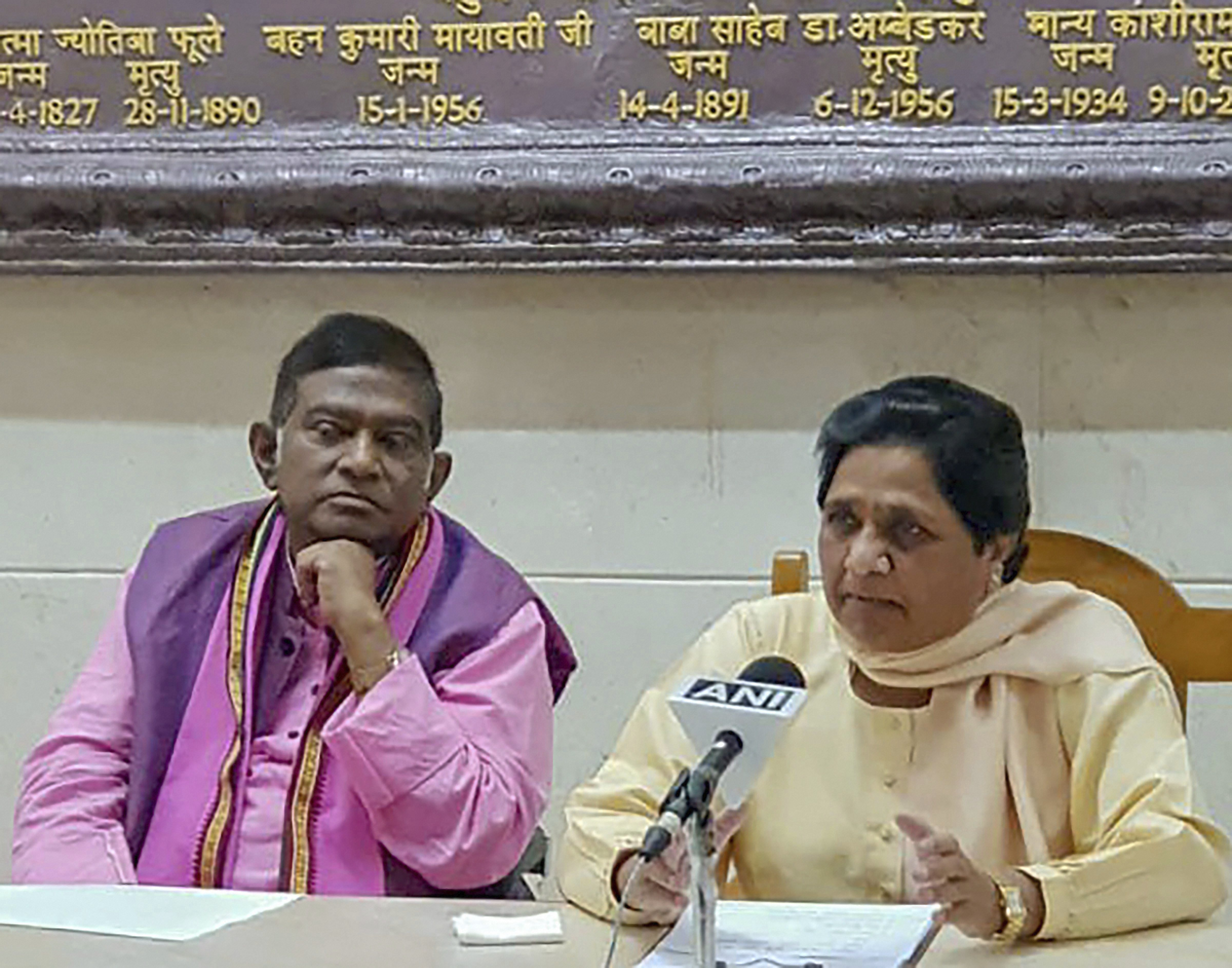 BSP supremo Mayawati and Janata Congress (Chhatisgarh) President Ajit Jogi during a press conference to annouce their alliance for assembly polls in Chhatisgarh, in Lucknow - PTI