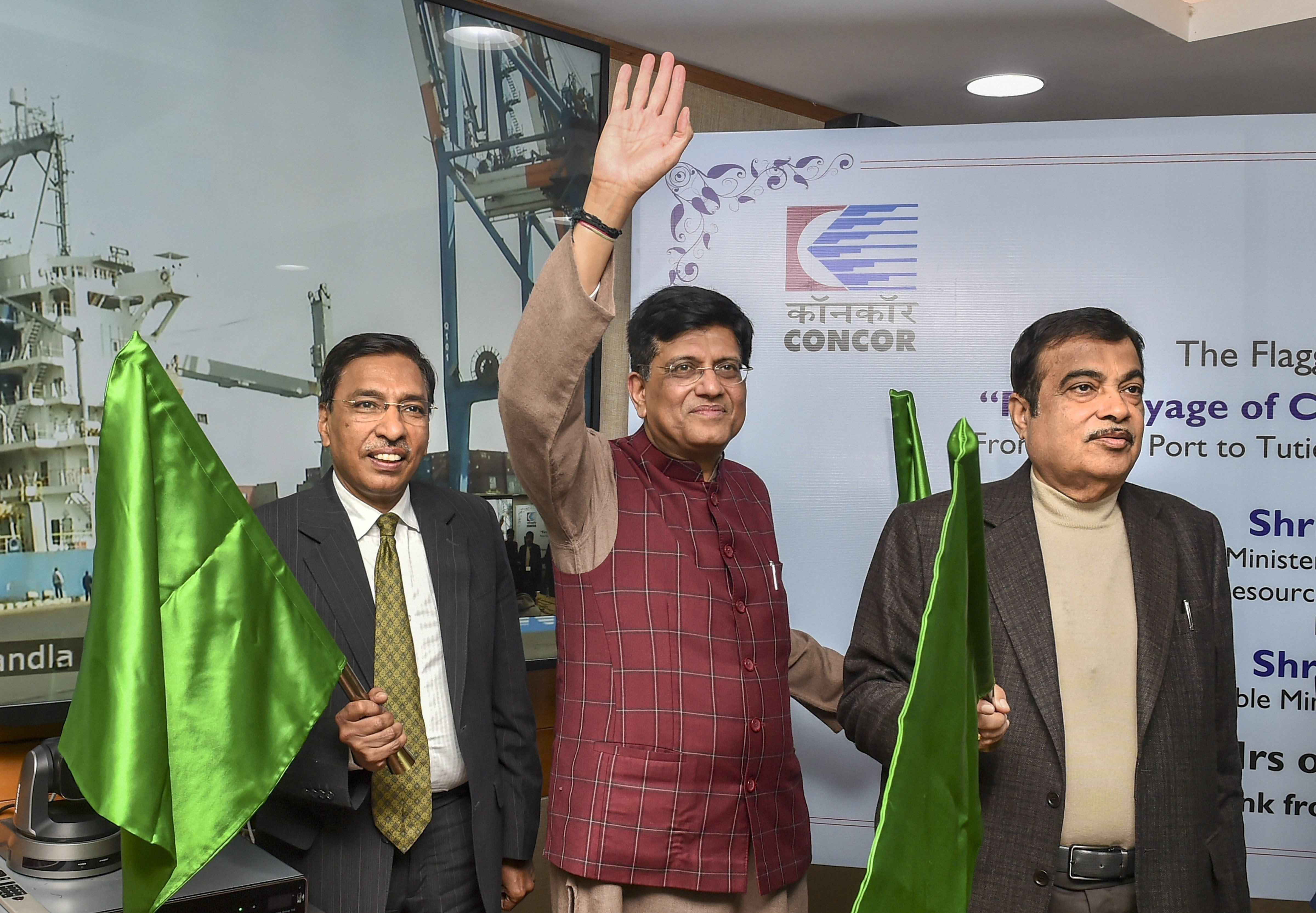 Union Road Transport and Highways Minister Nitin Gadkari and Union Railways Minister Piyush Goyal, during the flag off ceremony of the first voyage of Container Corporation of India (Concor) coastal movement from Kandla Port to Tuticorin Port at Transport Bhawan, in New Delhi  - PTI