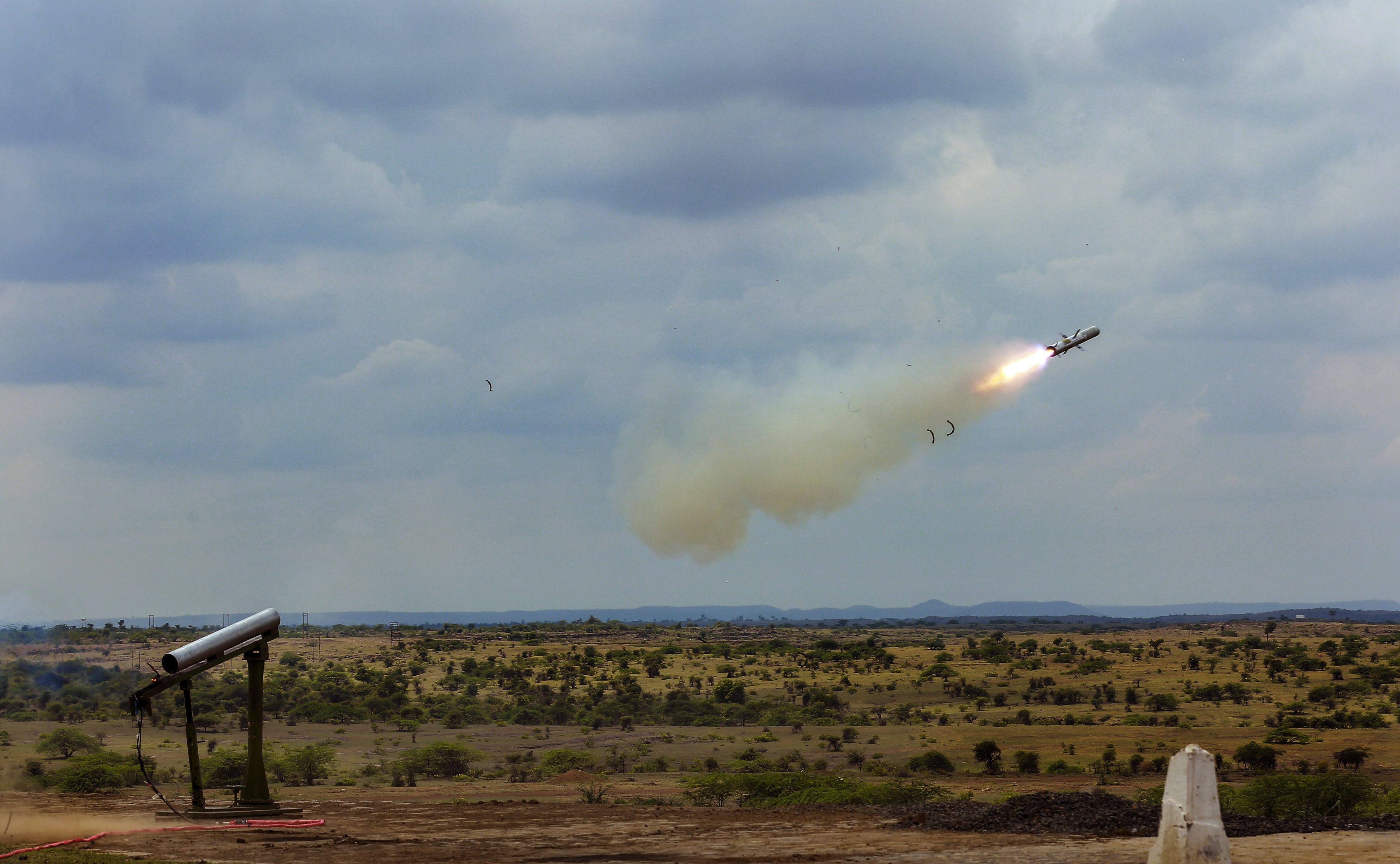 Indigenously developed Man Portable Anti-Tank Guided Missile (MPATGM), successfully flight tested for the second time from Ahmednagar - PTI