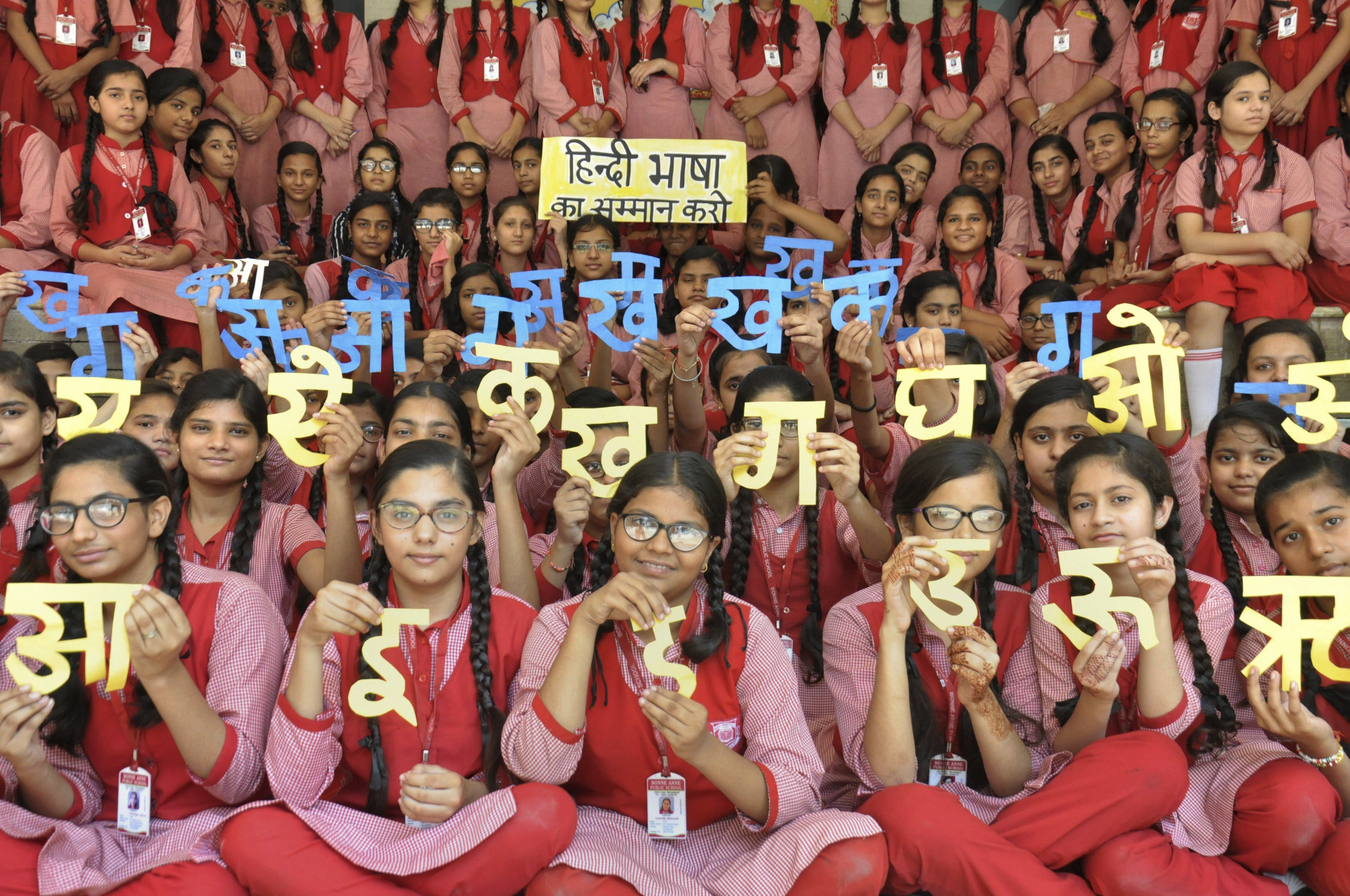 Students participate in a programme to mark 'Hindi Diwas', at a school in Moradabad - PTI