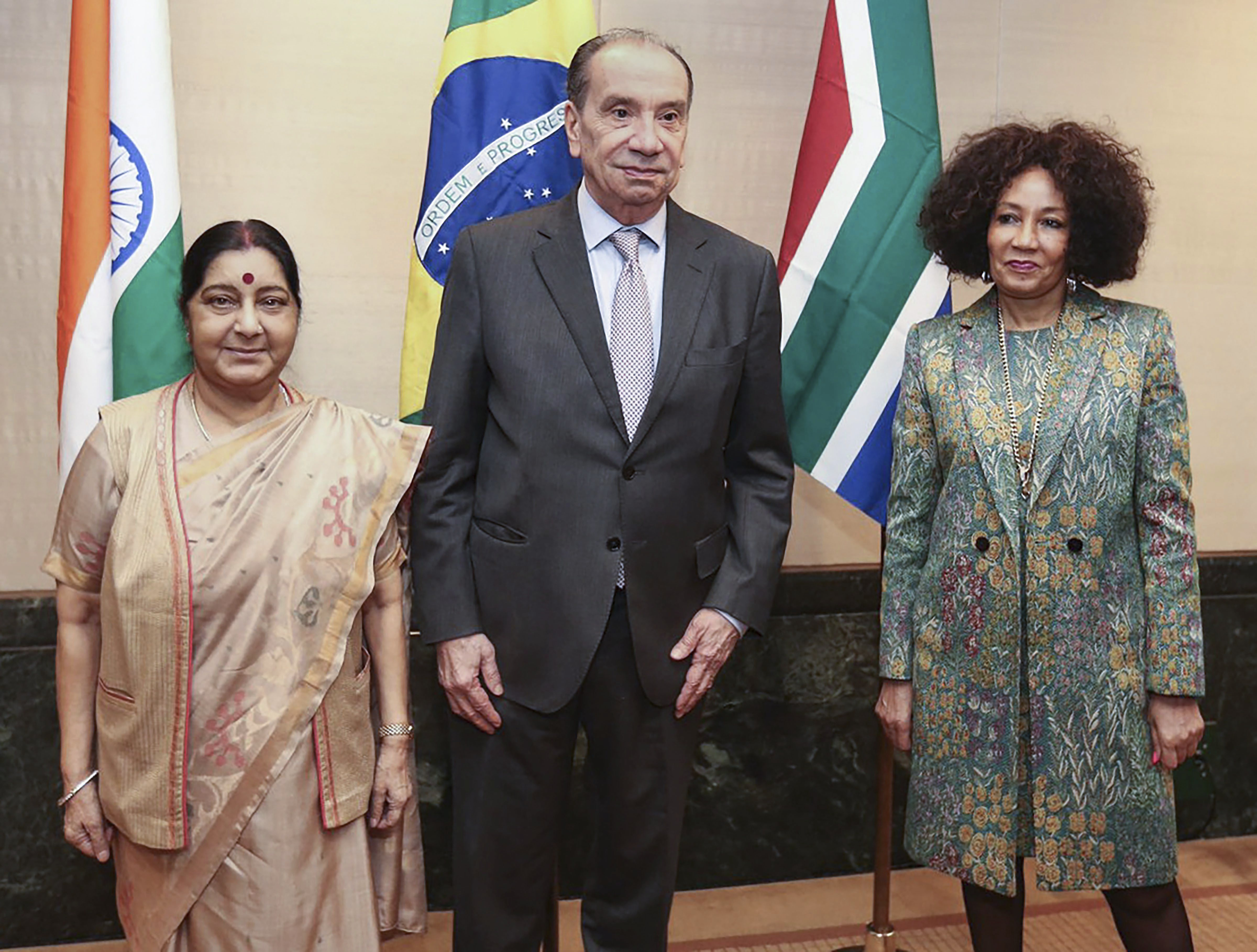 External Affairs Minister Sushma Swaraj with Brazilian Foreign Minister Aloysio and South African Foreign Minister Sisulu at IBSA-India Brazil South Africa meet in New York - PTI