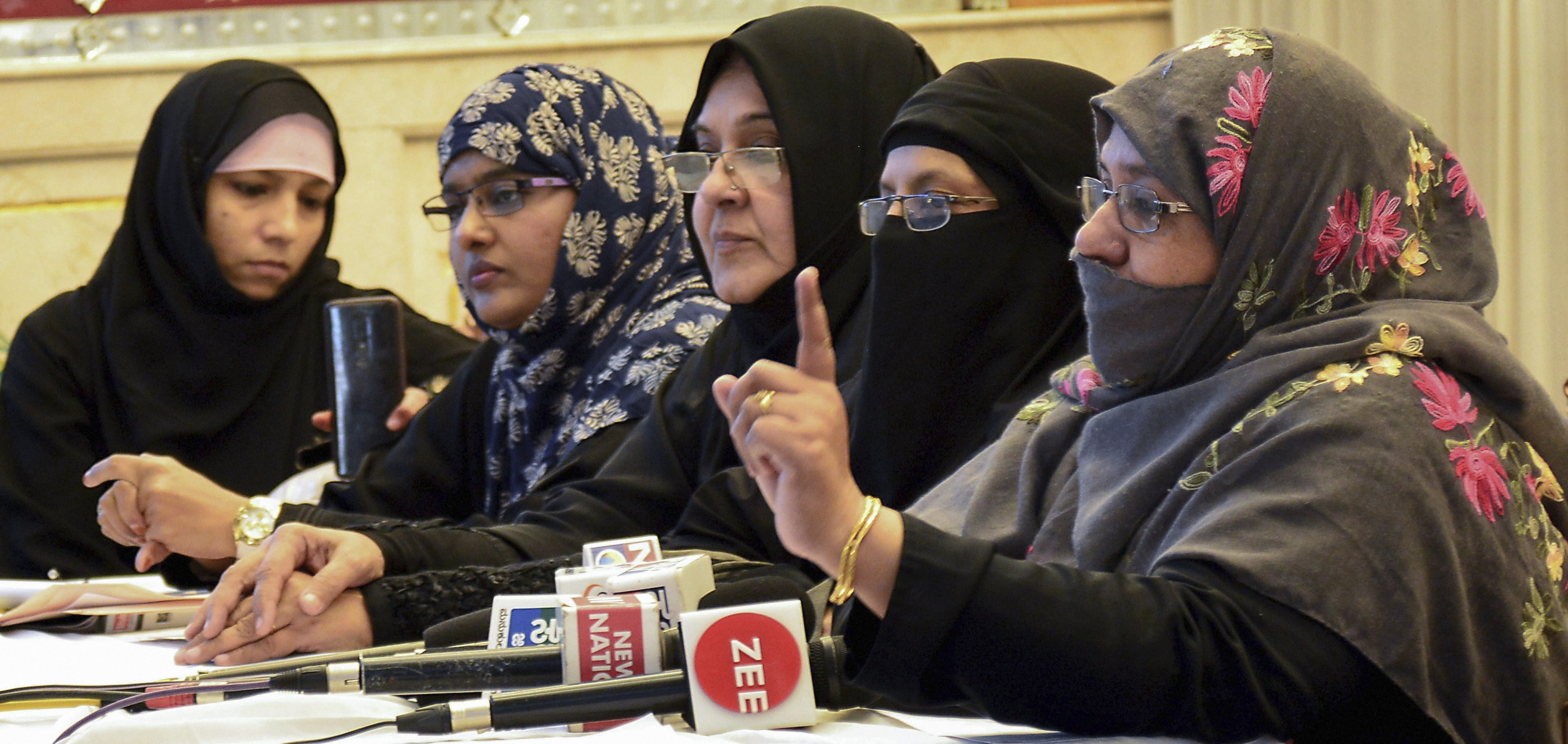 Women's Wing of All India Muslim Personal Law Board members address a press conference against ordinance on triple talaq, in Bengaluru - PTI