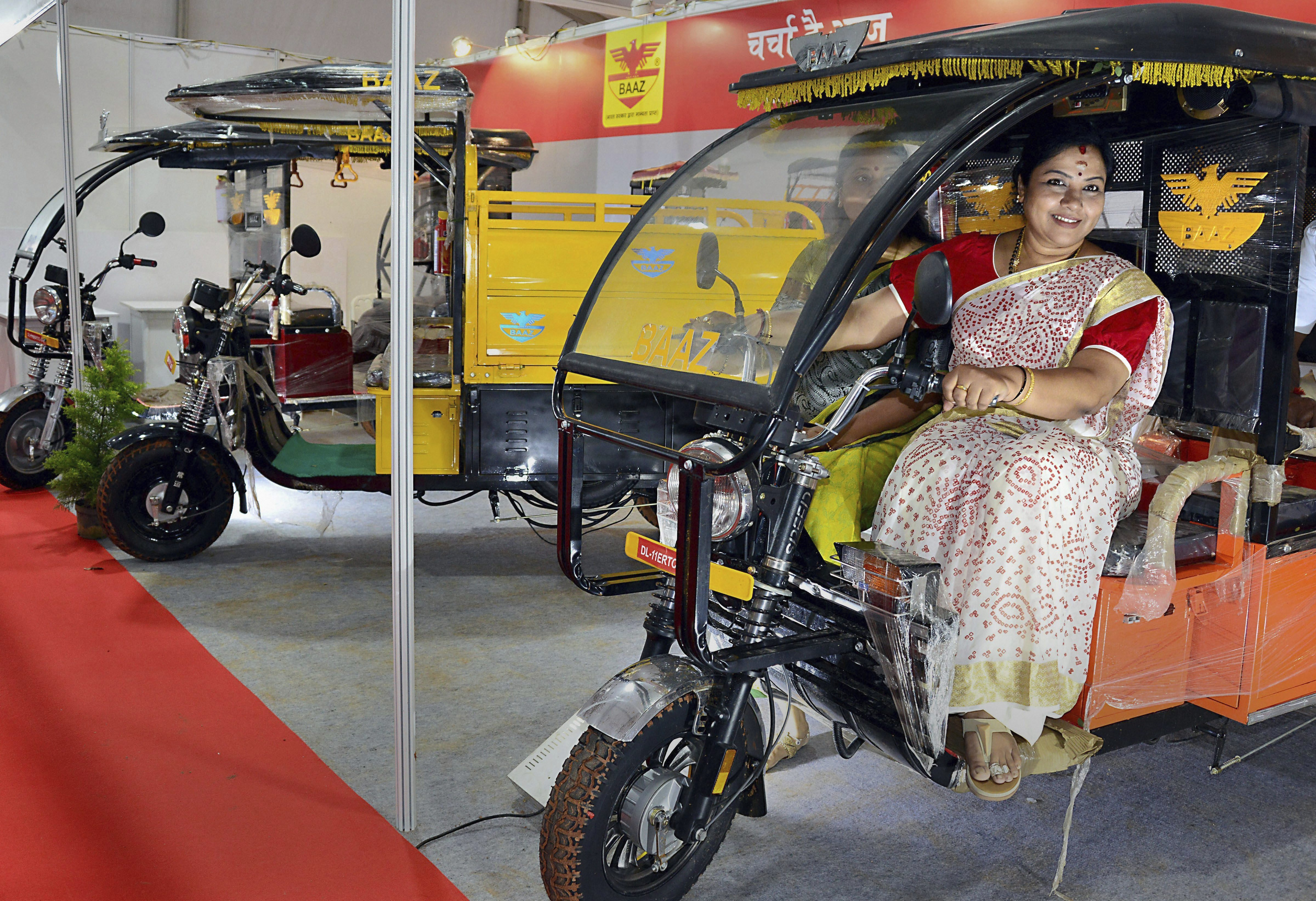 Kannada actor and former MLC Tara poses for photos during the inauguration of '7th Electric Vehicles Expo', in Bengaluru - PTI