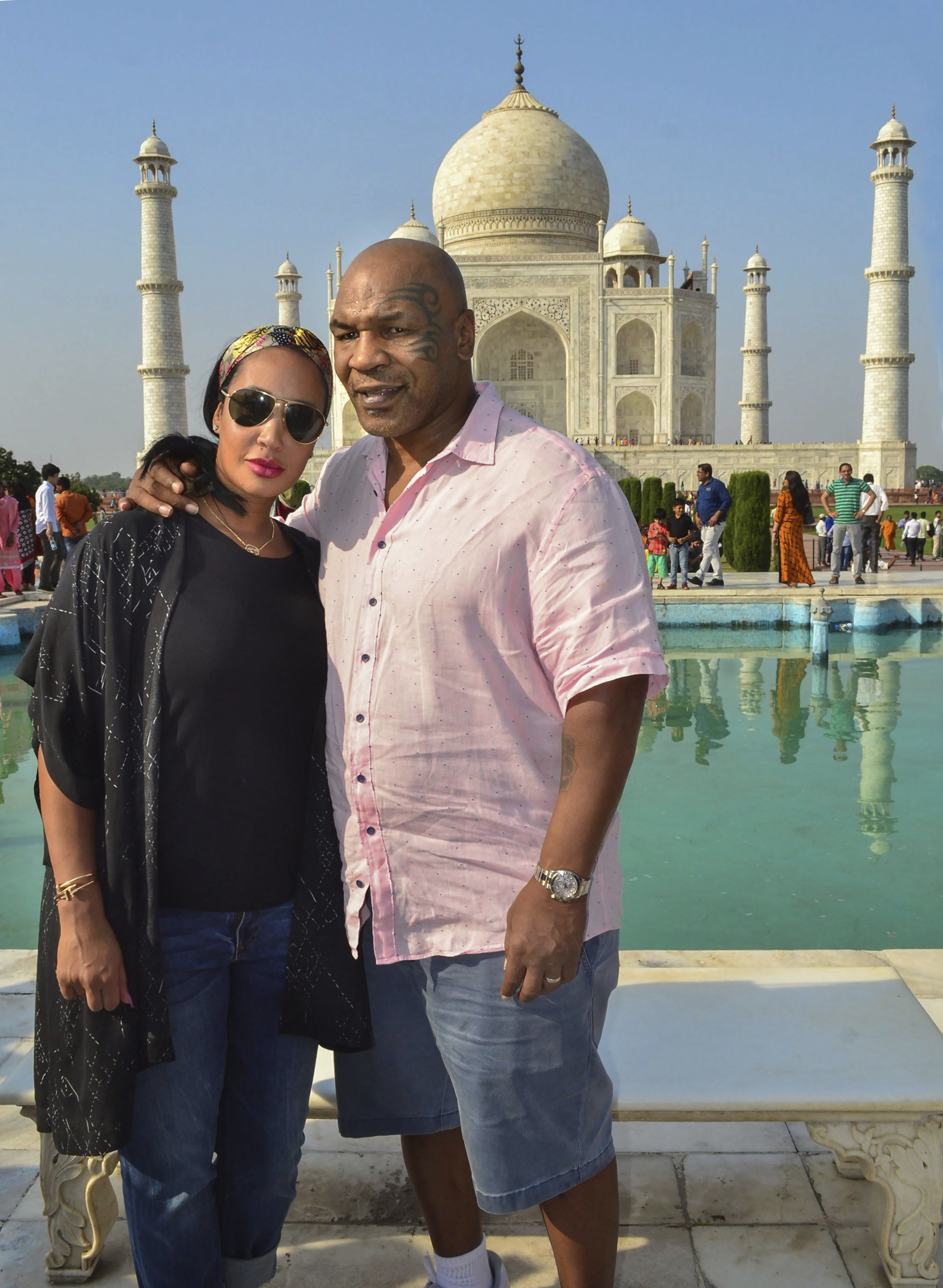 Former boxer Mike Tyson during a visit to Taj Mahal in Agra - PTI