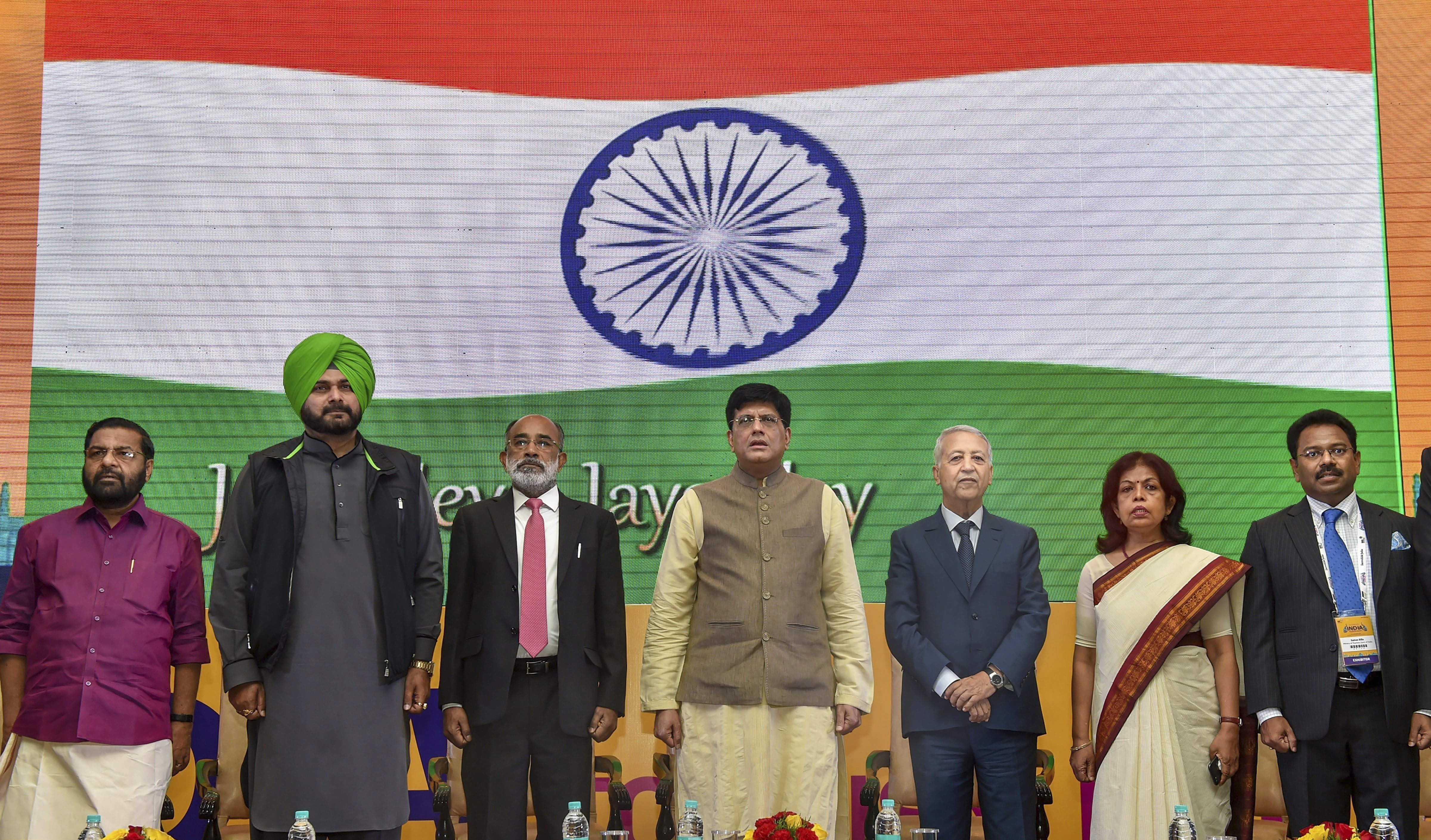 Union Minister for Railways, Coal and Corporate Affairs, Piyush Goyal, Union Tourism Minister K J Alphons, Punjab Cabinet Minister Navjot Singh Sidhu and Morocco's minister of tourism, Mohamed Sajid during the inauguration of 'India Tourism Mart 2018', in New Delhi - PTI