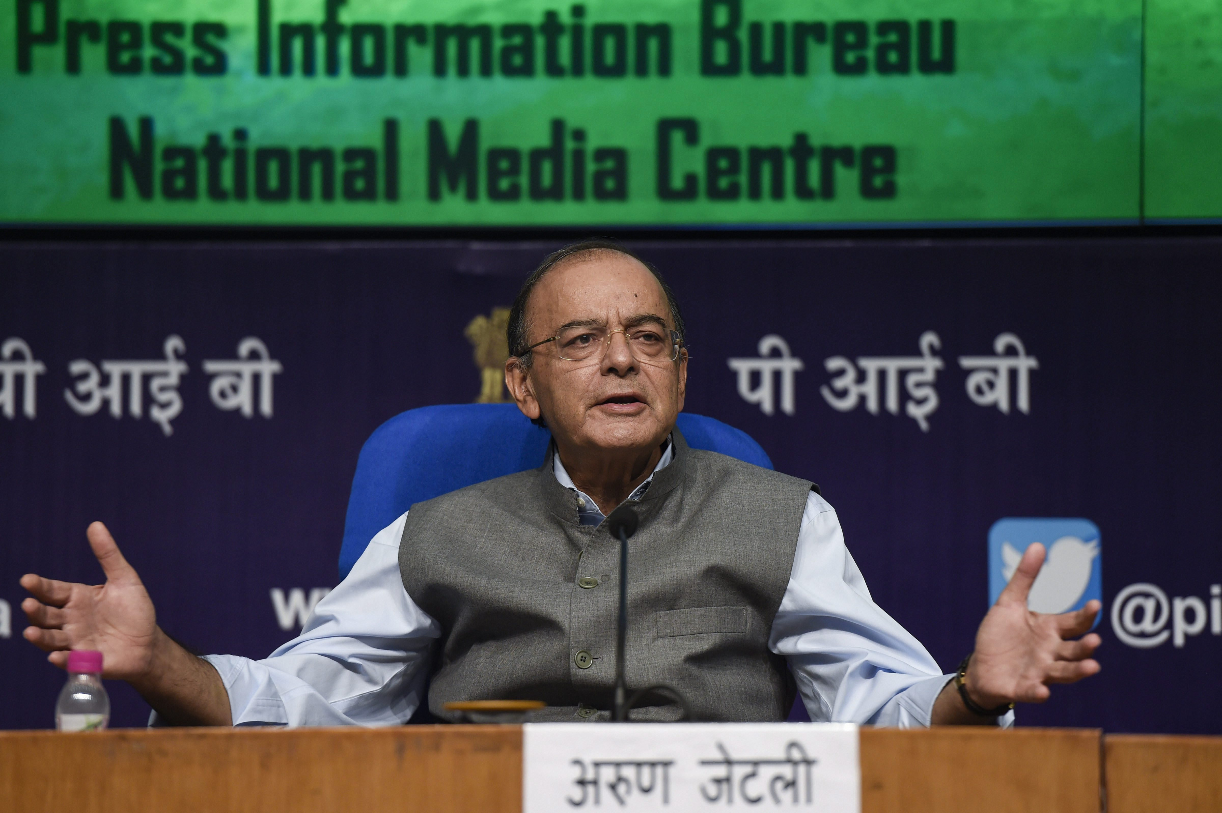Finance Minister Arun Jaitley speaks during a press conference, in New Delhi - PTI