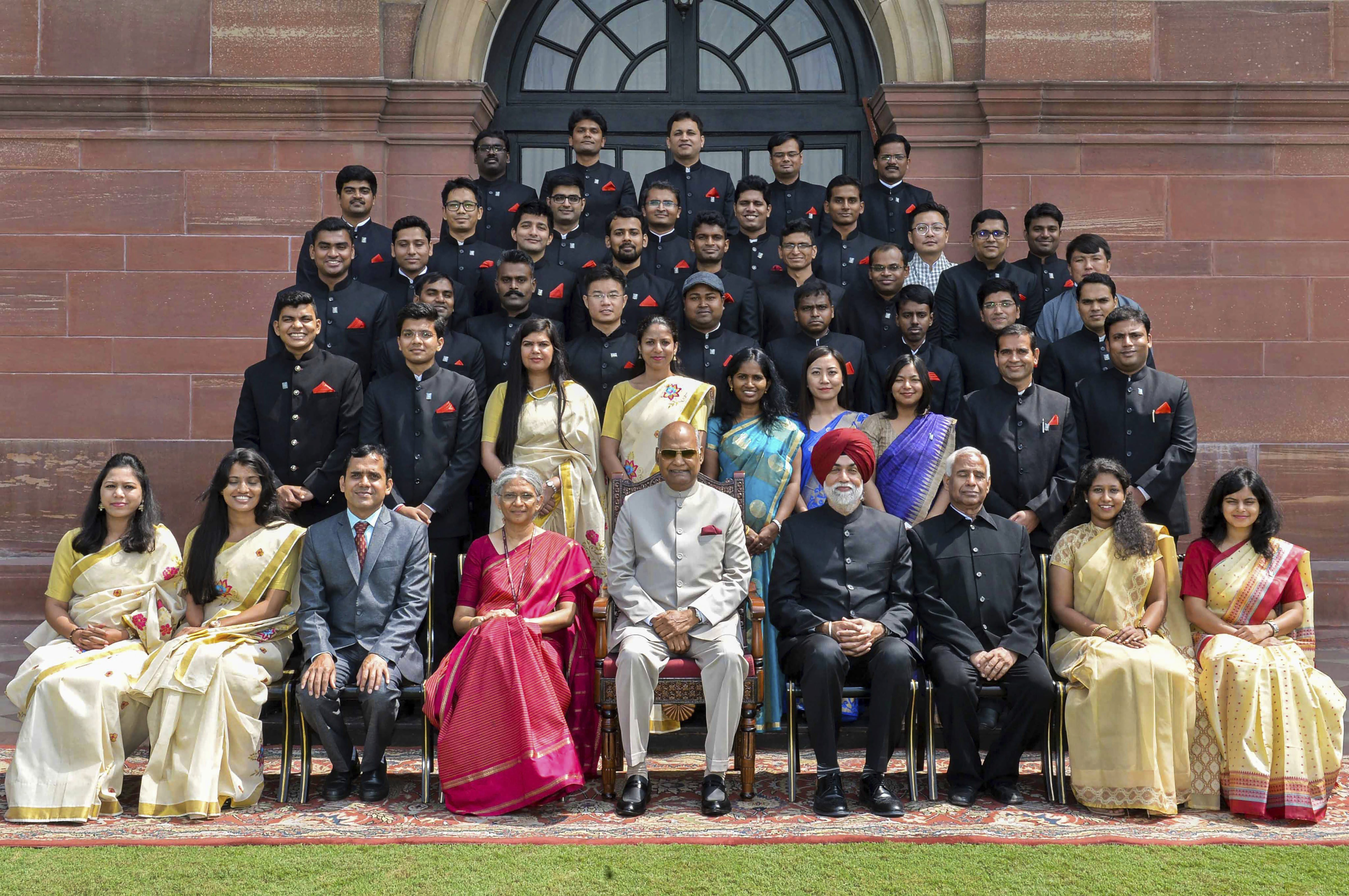 President Ram Nath Kovind in a group photograph with the officer trainees of Indian Audit and Accounts Services, Indian Trade Services and Indian Information Services in New Delhi - PTI