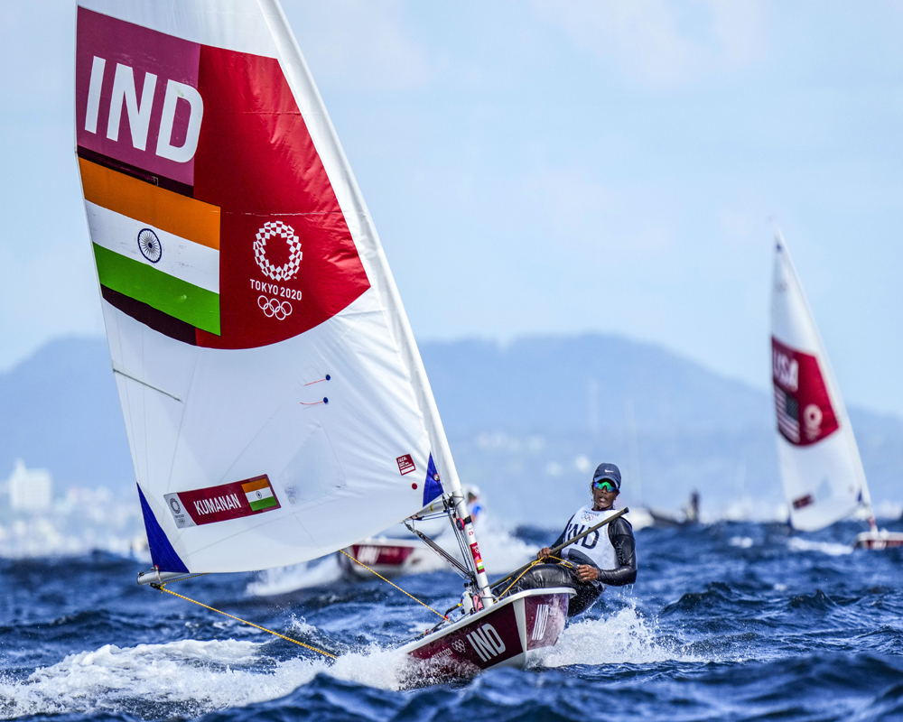 Fujisawa: India's Nethra Kumanan competes during women's one-person dinghy (laser) race at the Enoshima harbour during the 2020 Summer Olympics