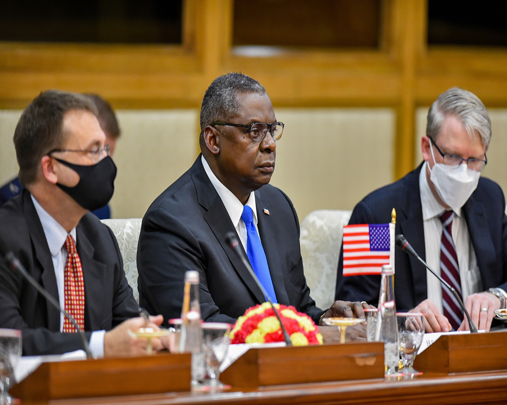 US Secretary of Defence Lloyd James Austin III during delegation level talks with Defence Minister Rajnath Singh at Vigyan Bhawan in New Delhi