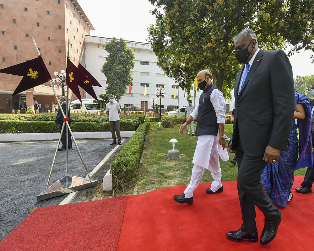 US Secretary of Defence Lloyd James Austin III after inspecting a guard of honour at Vigyan Bhawan in New Delhi