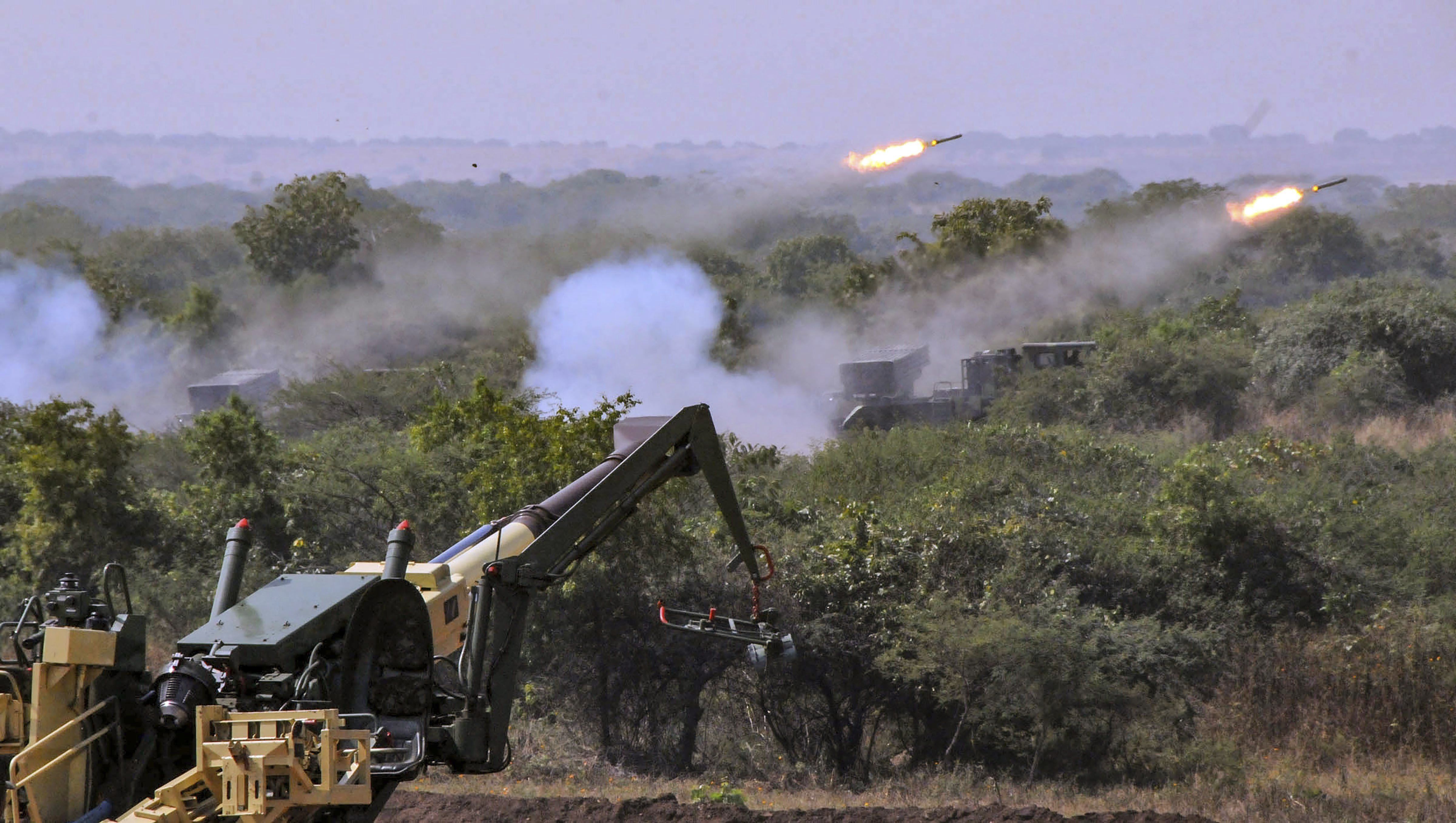 M777 Howitzer gun fires in the air at the formal induction of the major artillery gun systems including the K-9 Vajra, a self-propelled artillery gun and Composite Gun Towing Vehicle during a ceremony at Deolali artillery centre, in Nashik district - PTI